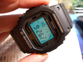 DW-5600E-1V A G-Shock watch with one of the first electroluminescent backlights