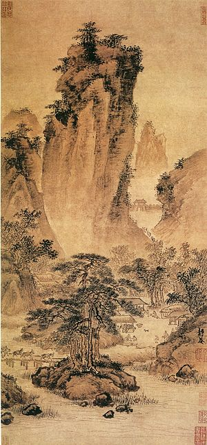 "Dai Jin - ""Travelers Through Mountain Passes"" (关山行旅图), Dai Jin, Ming Dynasty, China, Palace Museum, Beijing. Hanging scroll, ink and color on paper. 61.8 x 29.7 cm."