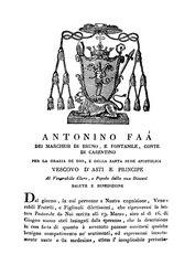 Antonino Faà di Bruno: Lettera pastorale al clero e al popolo della diocesi di Asti per la ritrattazione del contenuto della sua lettera circolare del 19 marzo 1821