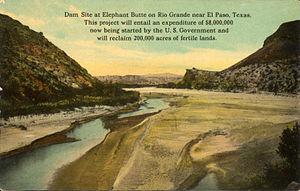 Elephant Butte Dam - Dam site, Elephant Butte (postcard, circa 1916-1924)