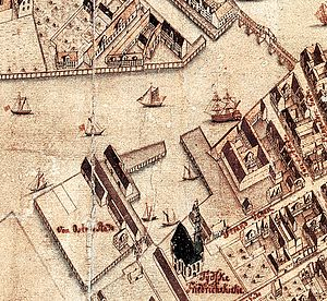 Danish West India Company - Map detail showing Danish West Indies Company's headquarters and dock in Christianshavn, Copenhagen
