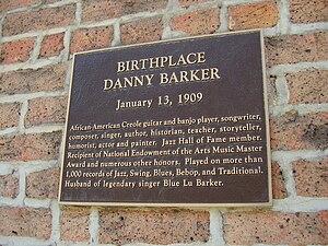 Danny Barker - Sign indicating Barker's birthplace