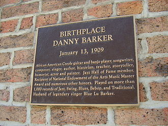 Danny Barker - Sign indicating Barker's birthplace