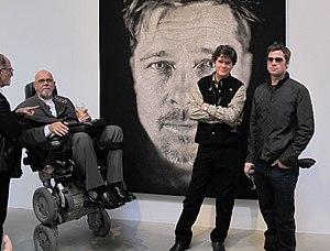 Donald Farnsworth - Michael Danoff, Chuck Close, Donald Farnsworth, and Brad Pitt in front of Close's 2009 tapestry portrait Brad at PaceWildenstein, New York on May 1, 2009.