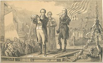 DeWitt Clinton - Print showing DeWitt Clinton mingling the waters of Lake Erie and the Atlantic, 1826.