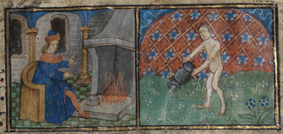 January- man seated before a fireplace; Aquarius