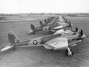 John de Havilland (pilot) -  Mosquito aircraft outside the Hatfield factory