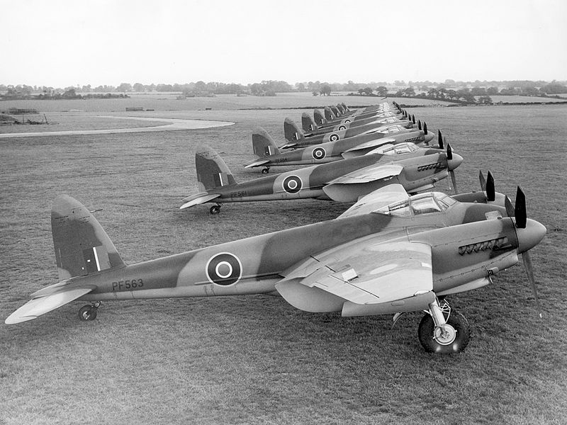 Image by Royal Air Force: de Havilland Mosquito B.XVIs, including the Percival-built PF563, closest to the camera