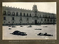 Dead outside National Palace during one of the outbreaks, Mexico City.jpg