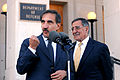 Defense.gov News Photo 111017-D-WQ296-165 - Italian Defense Minister Ignazio La Russa left responds to a reporter s question during a media availability with Secretary of Defense Leon Panetta.jpg