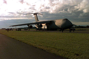 Tallinn Airport - A USAF C-5A Galaxy unloads at Tallinn Airport during Exercise Baltic Challenge '97