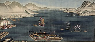 Dejima - Dejima and Nagasaki Bay, circa 1820. Two Dutch ships and numerous Chinese trading junks are depicted.