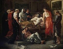 Tableau représentant Marcus sur son lit de mort et son fils Commode, entourés des amis philosophes de l'empereur