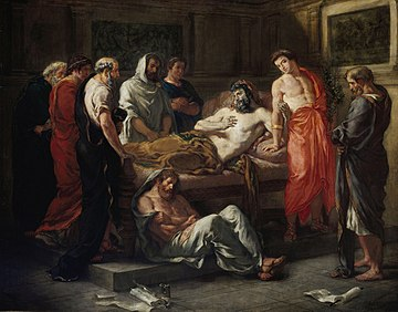 Painting that depicts Marcus on his deathbed and his son Commodus, surrounded by the emperor's philosopher friends