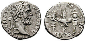 Legio I Minervia - Denarius issued in 193 under Septimius Severus, to celebrate I Minervia, which had supported the commander of the Pannonian army in his fight for purple
