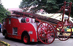 Fire department - A 1951 Dennis P12 fire tender as formerly used by the Wiltshire Fire Brigade.
