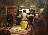 Painting depicting an interior with a nude female model sitting at a spinet piano while an artist works at his easel on the left side of the canvas