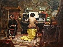 Pintura representando um interior com um modelo nu feminino sentado em um piano espineta enquanto um artista trabalha em sua armação no lado esquerdo da tela