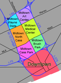 Location of Downtown in relation to Midtown
