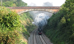 "Bristol–Exeter line - 34067 ''Tangmere'' steaming under Devil's Bridge with a ""Torbay Express"" service"