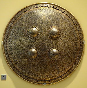 Mughal weapons - Dhal (shield), North India, Mughal period, 17th century, steel, gold, silk, leather - Royal Ontario Museum - DSC04543
