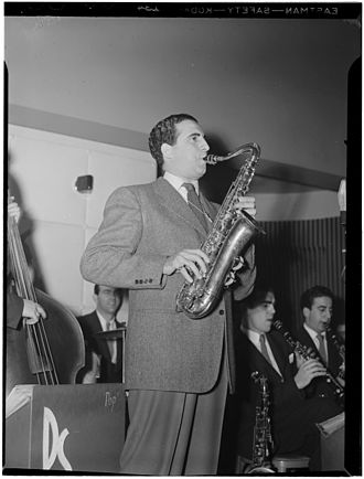 C melody saxophone - Dick Stabile playing a C melody saxophone in New York, circa 1946