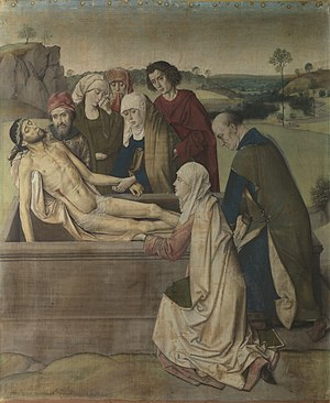 Distemper (paint) - Dirk Bouts Entombment, distemper on linen, 1450s