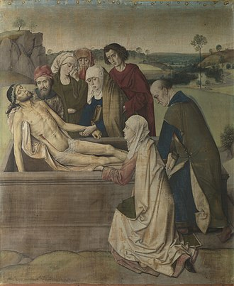 Distemper (paint) - Dirk Bouts Entombment, distemper on linen, 1450s