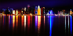 Doha Qatar skyline at night Sept 2012.jpg