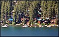 Donner Lake is a freshwater lake in northeast California on the eastern slope of the Sierra Nevada and about 11 miles (18 km) northwest of the much larger Lake Tahoe. A moraine serves as a natural dam for the lake. The la - panoramio.jpg