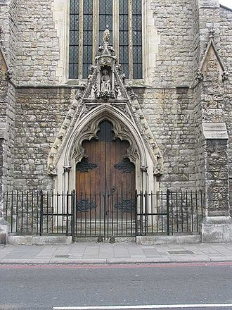 William Wardell - Doorway detail of Our Immaculate Lady of Victories, Clapham.