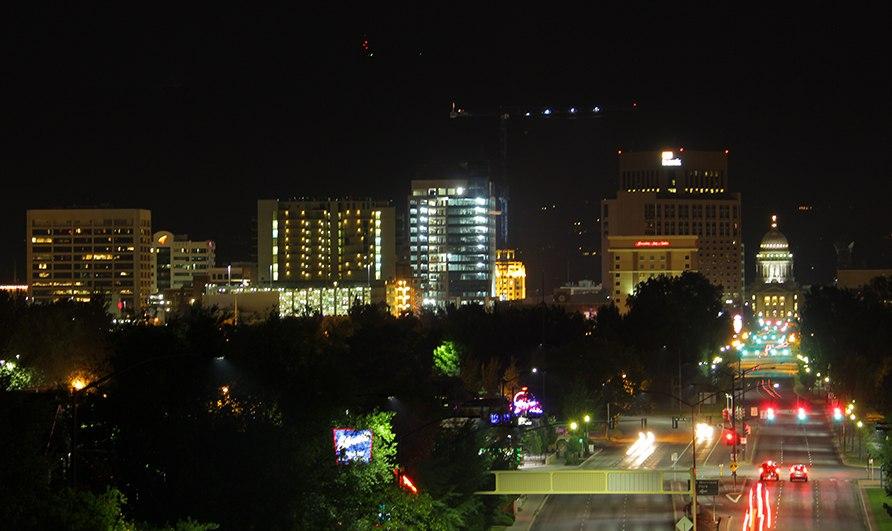 Downtown Boise Midnight Skyline 2013