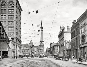 Indianapolis Traction Terminal - View of interurban tracks on the Market Street side of the Traction Terminal, with the Soldiers and Sailors Monument in the background to the east