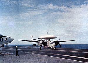 E-1B VAW-11 landing on USS Oriskany (CVA-34) 1965.jpg