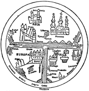 Fig. 10.—Map illustrating Sallust's Bellum jugurthinum (11th century, Leipzig).