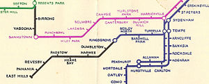 East Hills railway line - Map of the East Hills Line from 1939 showing the limit of electrification at Kingsgrove, and the former station names Dumbleton and Herne Bay.