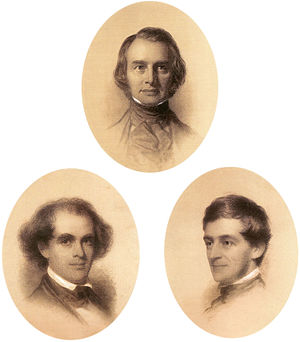 Eastman Johnson - Henry Wadsworth Longfellow – Nathaniel Hawthorne – Ralph Waldo Emerson, crayon and chalk on paper, each 21 × 19 in. oval, 1846