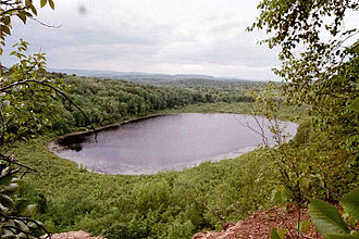 Westfield, Massachusetts - View of Snake Pond and the Westfield countryside from East Mountain