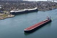 Edison Sault power plant and ship 2010-04-20 USACE.jpg