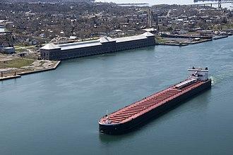 MV American Century - Image: Edison Sault power plant and ship 2010 04 20 USACE