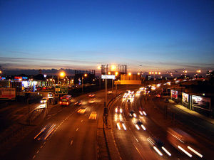 Edmonton, London - Angel Road, Edmonton, at dusk. Edmonton gasworks on horizon. (February 2006)