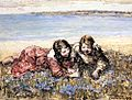 Edward Atkinson Hornel - Gathering Flowers By The Seashore 1919.jpg