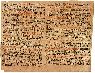 The ancient Egyptian Edwin Smith Papyrus is the earliest known description of SCI. Edwin Smith Papyrus v2.jpg