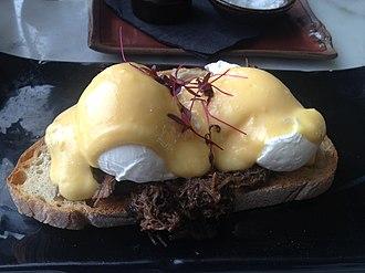 Steak and eggs - Image: Eggs Benedict on steak