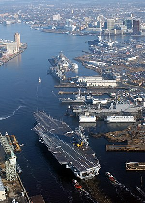 USS Harry S. Truman - Harry S Truman in the Elizabeth River near Norfolk Naval Shipyard in 2004.