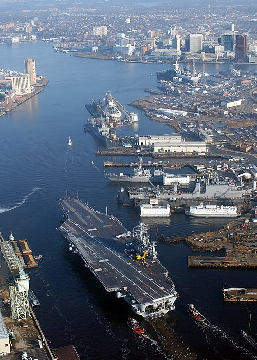 View of the Elizabeth River with Downtown Norfolk at top right. The carrier in the foreground is USS Harry S. Truman (CVN-75). Elizabeth River at NNSY.jpg
