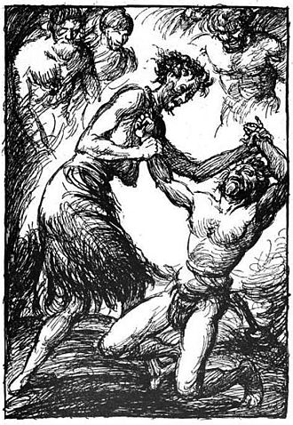 Lokrur - Thor and the old woman wrestle, Robert Engels (1919).