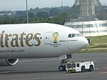 Emirates (A6-ECY), Newcastle Airport, July 2014 (02).JPG