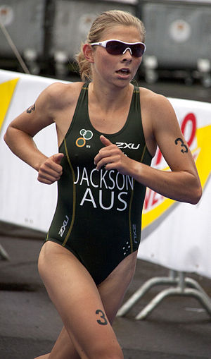 Emma Jackson (triathlete) - Emma Jackson winning the gold medal at the U23 World Championship in Budapest, 2010.