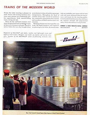 Empire State Express - The Budd-manufactured cars in a 1944 Saturday Evening Post ad.